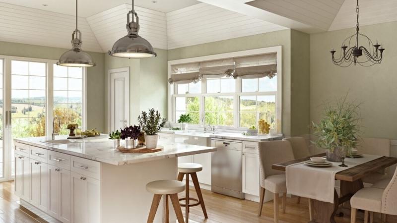 Virtually Staged Beige Kitchen