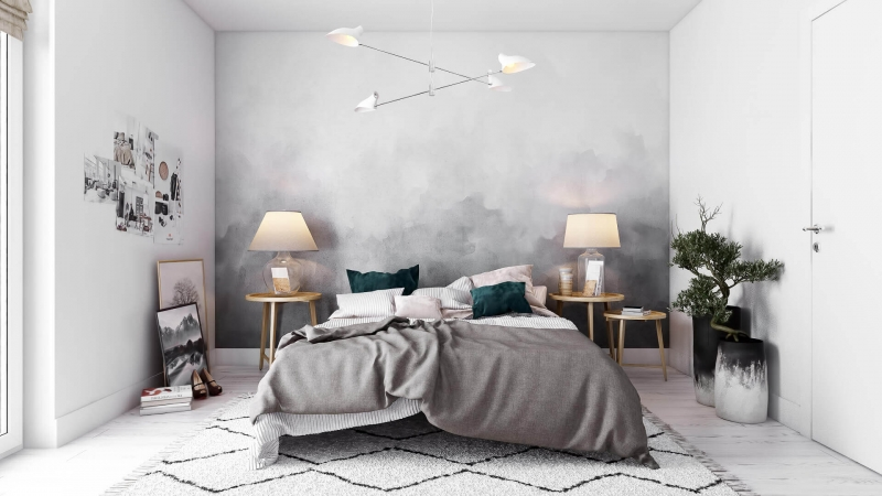 Virtually Staged Stylish Bedroom
