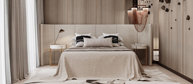 Virtual Staging for a Modern Beige Bedroom