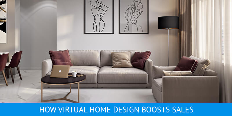 Virtually Staged Interior of a Beige Living Room
