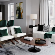 Virtually Staged Neutral Living Room with Emerald Accents