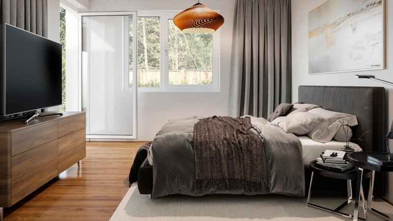 Virtual Staging for a Bedroom in Muted Tones