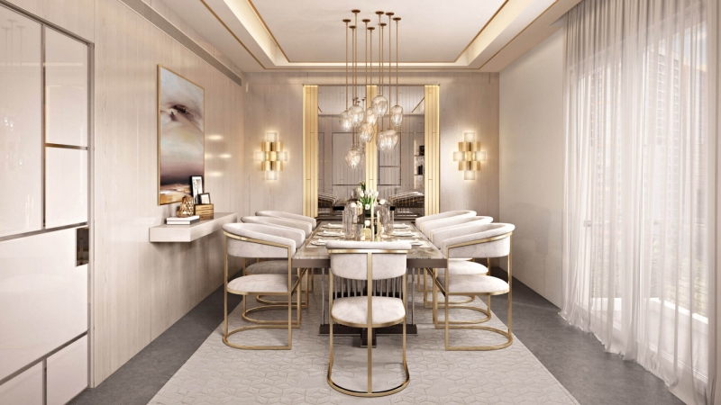 Virtually Staged Neutral Dining Room
