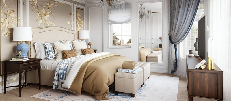 A Virtually Staged Classic Bedroom