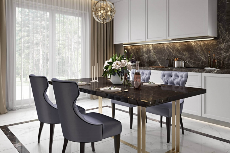 A Virtually Staged Contrast Dining Room