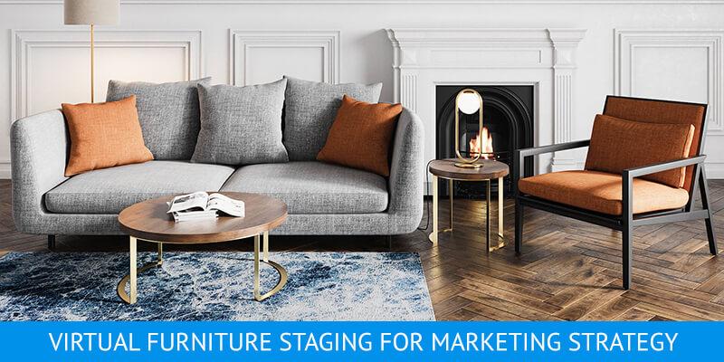 A Virtually Staged Elegant Living Room