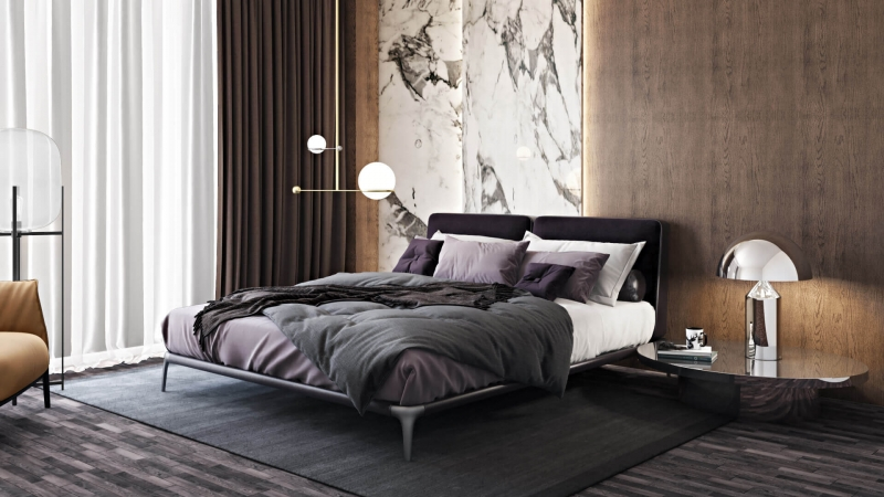 A Virtually Staged Modern Elegant Bedroom
