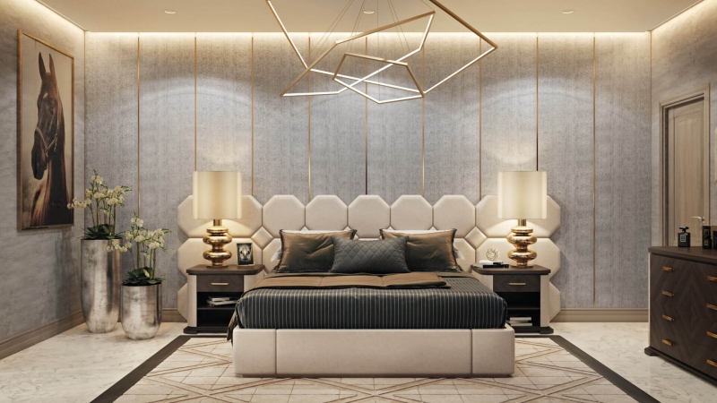 Virtual Staging for a Beige and Black Bedroom