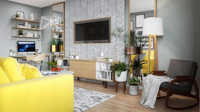 Virtual Staging for a Stylish Living Room