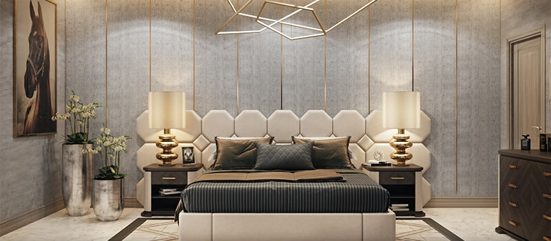 A Virtually Staged Chic Bedroom