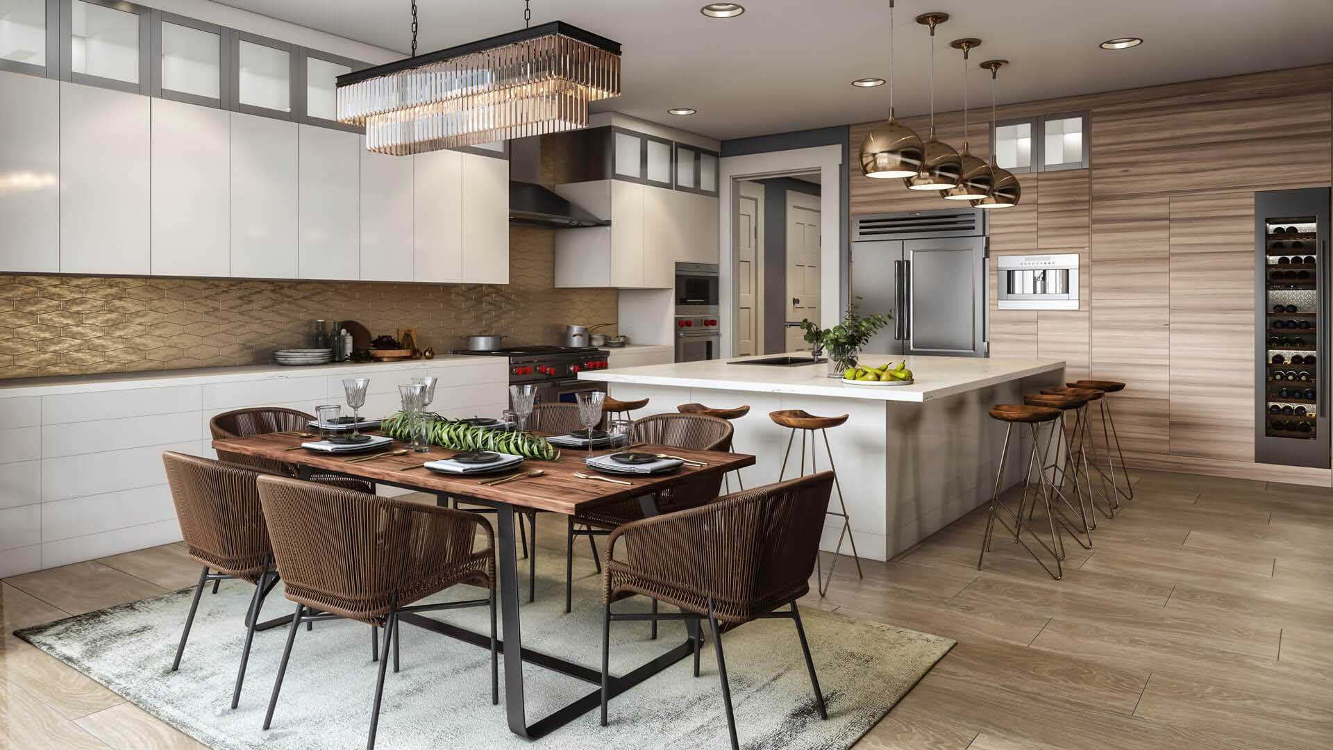 A Virtually Staged Kitchen and Dining Zone