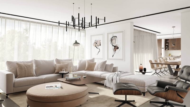 Virtual Home Staging for a Beige Living Room