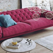 A Living Room with Pink Sofa on a 360 Virtual Tour