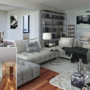 Before and After Digital Staging for a Living Area