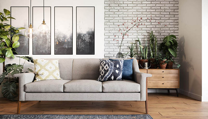 A Virtually Staged Photo of a Living Area with Furnishing