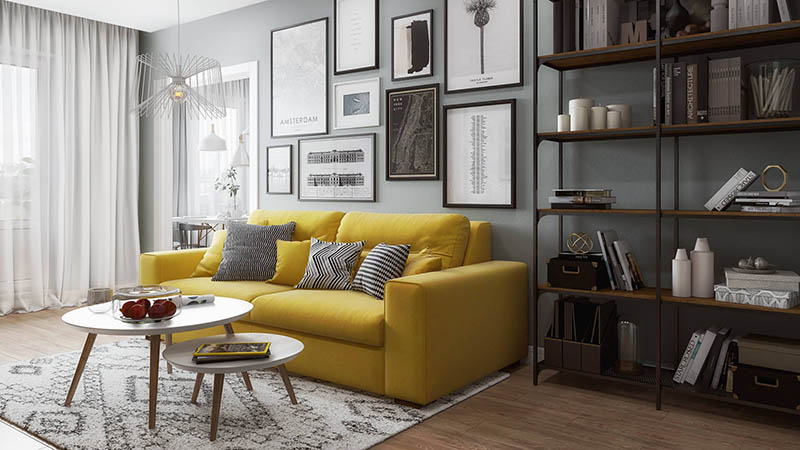 A Virtually Staged Photo of a Living Room with Decor and Furnishing
