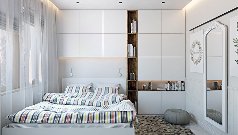 A Virtually Staged Photo of a Bedroom with Decor and Furnishing