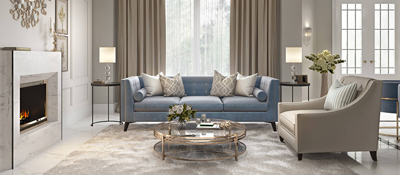 pro virtual staging of a living room