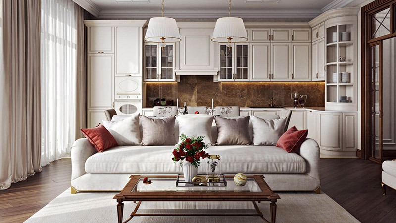 A Virtually Furnished Classical Living Room