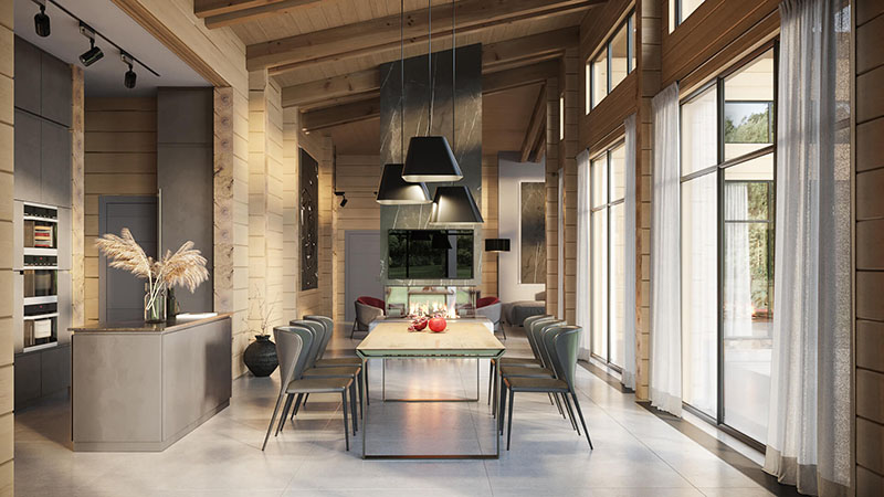A Digitally Staged and Edited Open Kitchen with a Dining Area