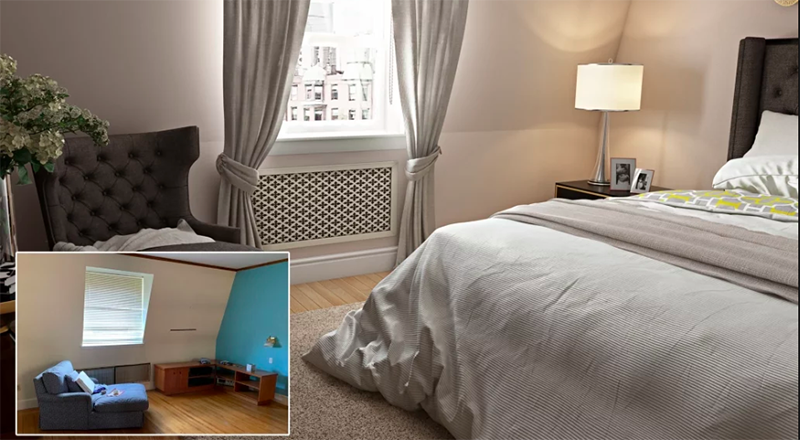 Before and After Look of a Digitally Staged Bedroom