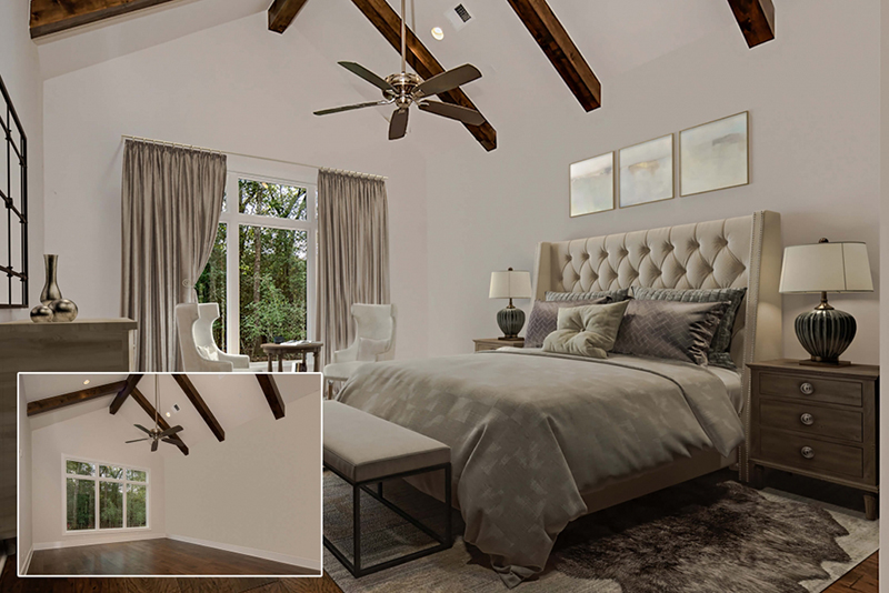 virtual staging of a bedroom