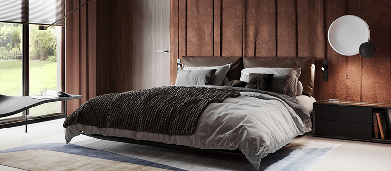 A Virtually Staged Bedroom in Earthy Tones