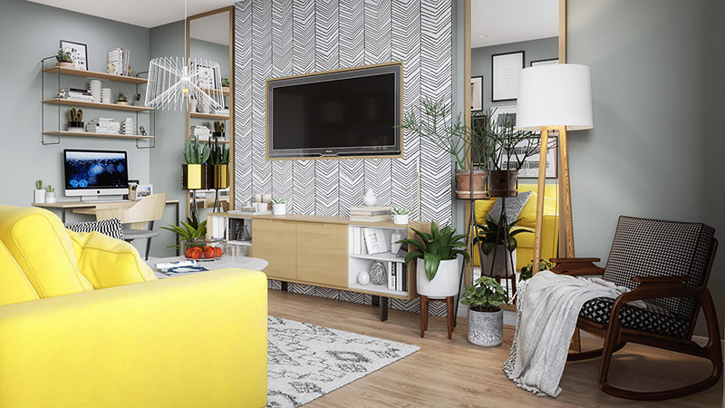 A Virtually Staged Living Room with Bright Accents