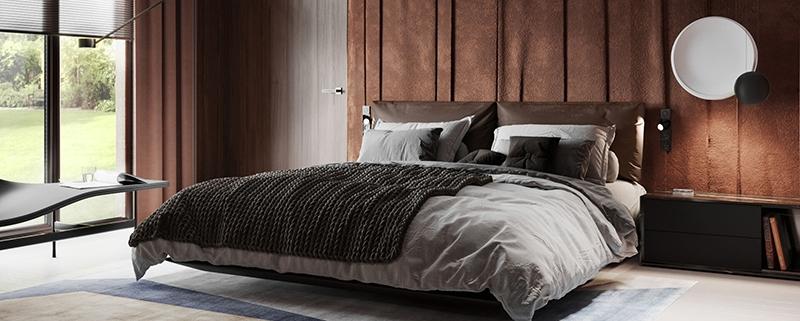 A Cozy Virtually Staged Bedroom in Earthy Tones