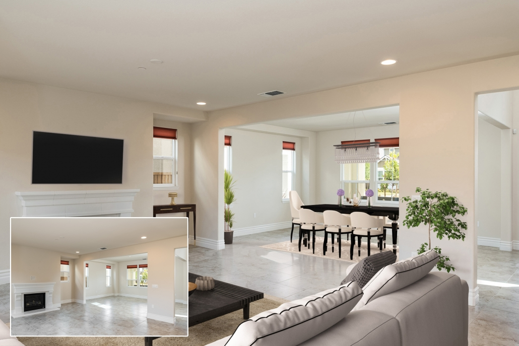 Before and after virtual staging: Targeting and content