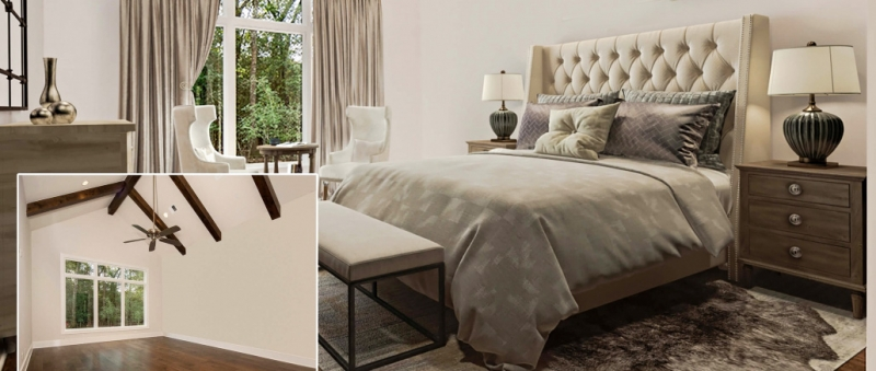 Virtual Staging of a Beige Bedroom