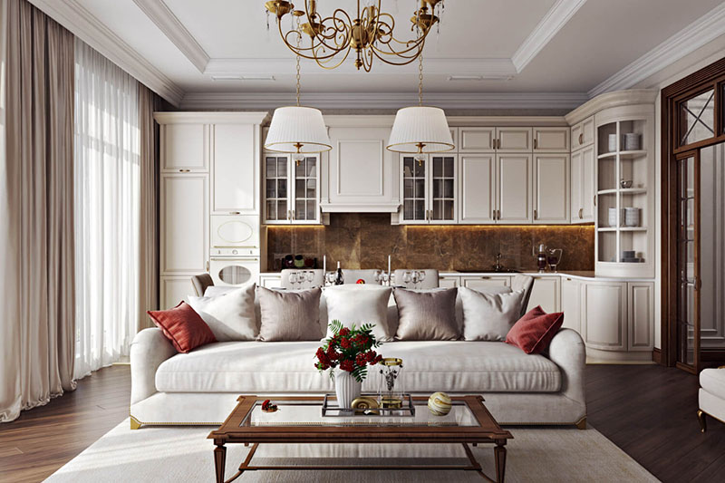 Virtual Staging of a Classical Living Area