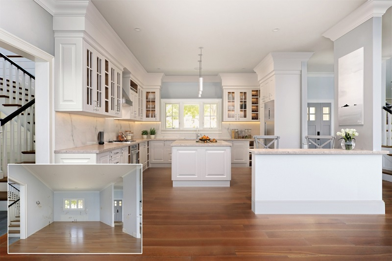 A Staged Stylish Kitchen of a Home