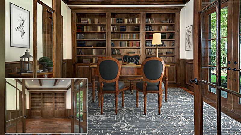 A Virtually Staged Library with Traditional Furniture Set