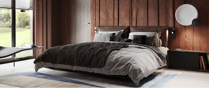 A Bedroom Staged Using Luxurious Materials and Textures