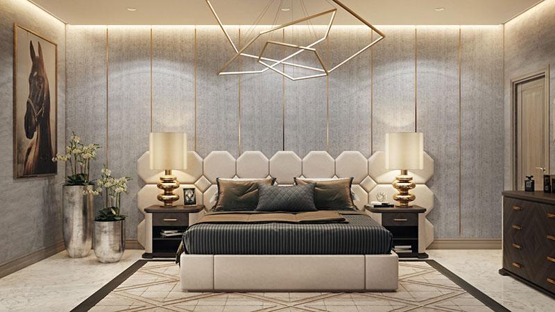 A Tasteful Bedroom with Cozy Lights