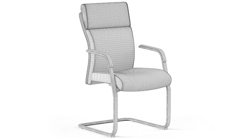 A 3D Model of a Chair with Geometry Lines