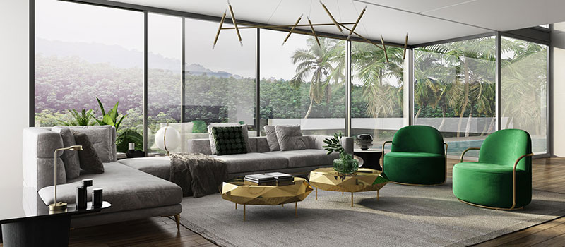 A Virtually Staged Living Room with Green Accents