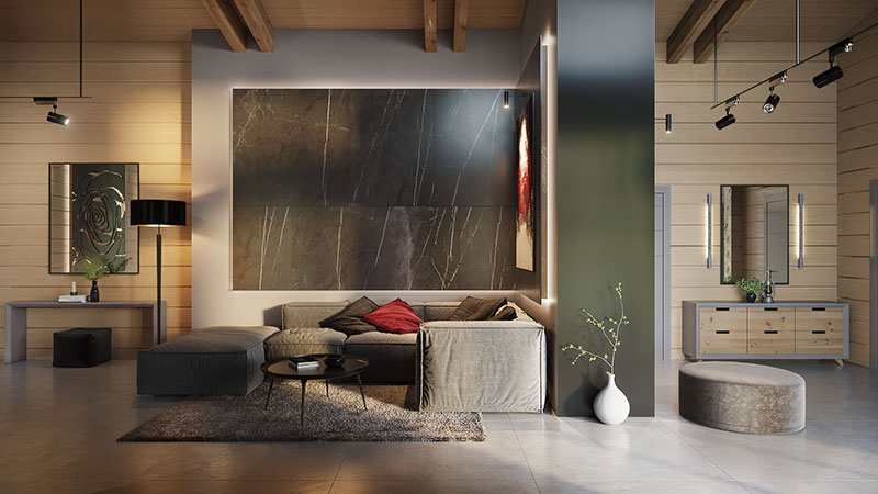 Lounge Zone in a Modern Home Made Using Virtual Staging and Photoshop