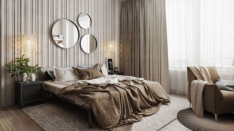 Home Staging of a Bedroom in Earthy Tones