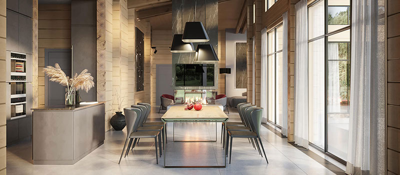 A Virtually Staged Dining Area in a Modern Home