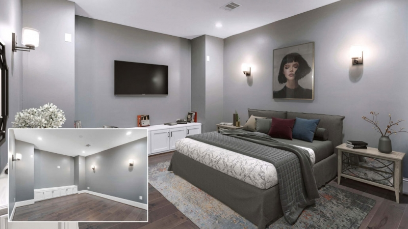 Before and After of Virtual Staging for a Bedroom