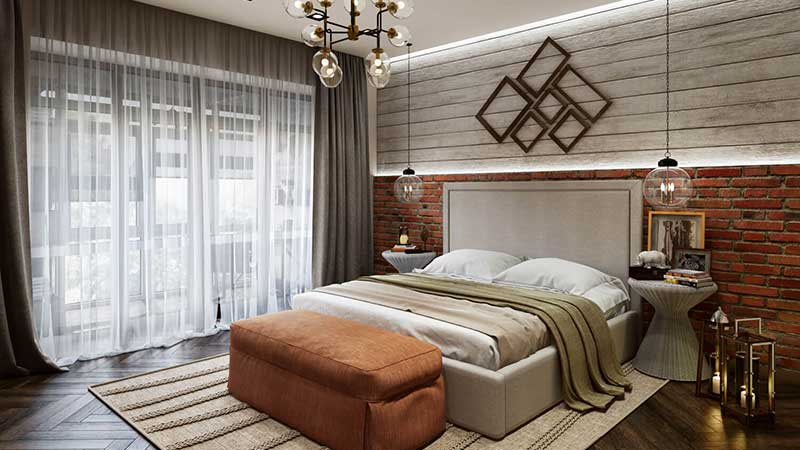 Virtual Room Design for a Modern Bedroom with Terracotta Accents