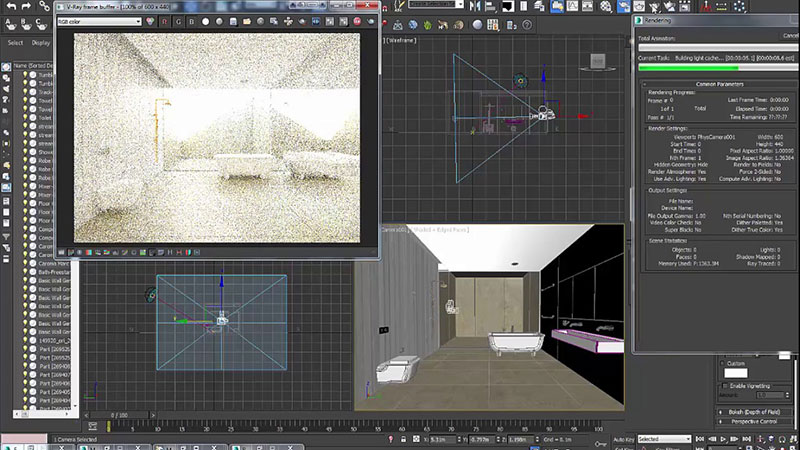 A Screenshot of 3ds Max Scene with Virtual Room