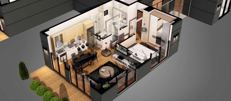 A Cut-Out Floor Plan with Virtual Staging for a Small Flat