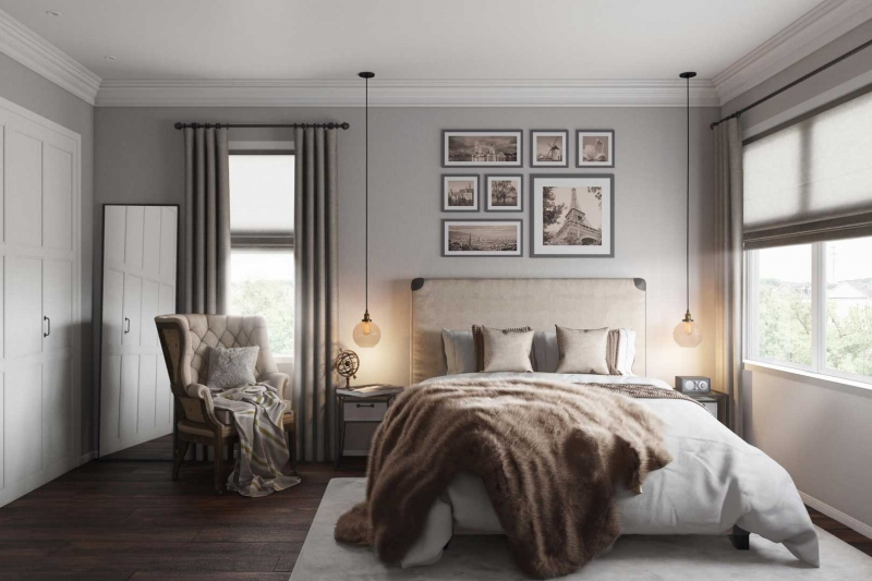 A Virtually Staged Bedroom Picture Made Out Of a 3D Floor Plan