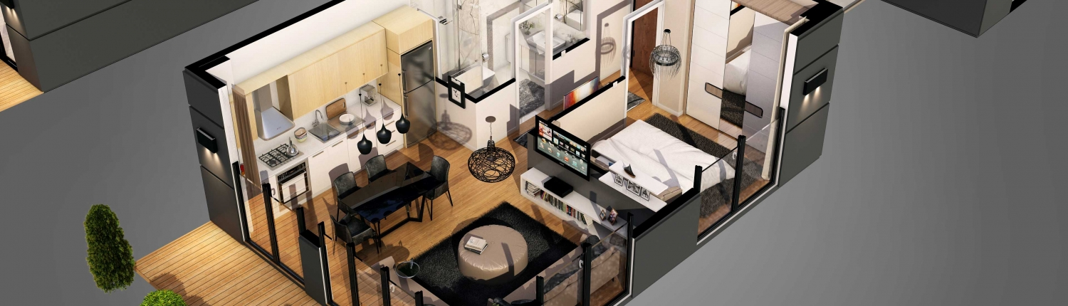 A Cut-Out Floor Plan with Virtual Staging for a Small Apartment