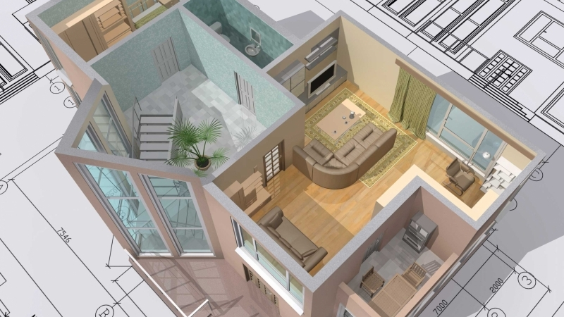 A Virtually Staged Floor Plan of a Small House