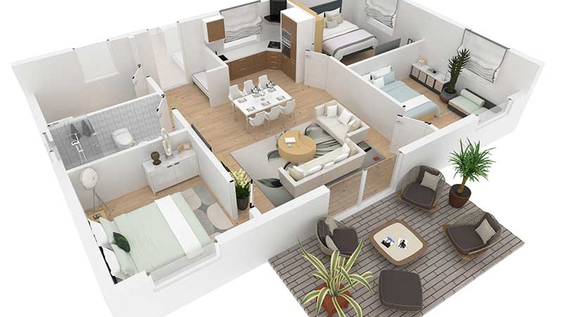 A Floor Plan of a House That Was Virtually Staged by CG Artists