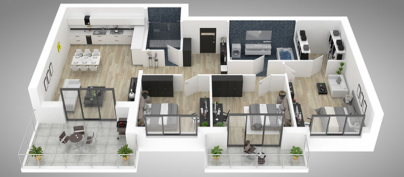 Digitally Staged Floor Plan of a Spacious Property